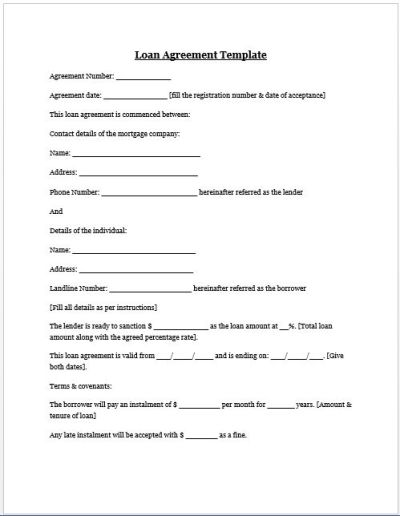 Loan Agreement Template | Microsoft Word Templates ...