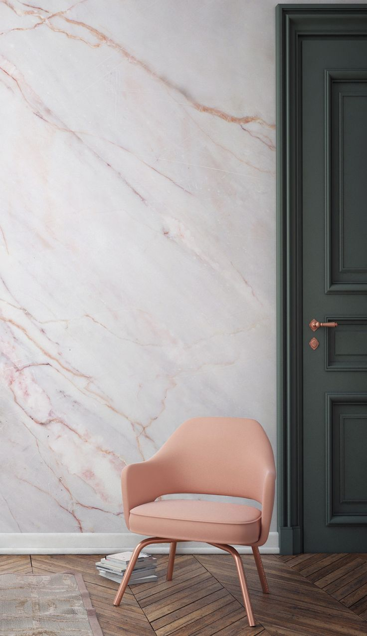 Cracked Natural Marble Wallpaper and a beautiful pink armchair.