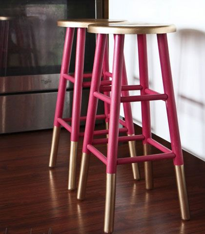 Easy & Creative Decor Ideas – Gold Dipped Bar Stools