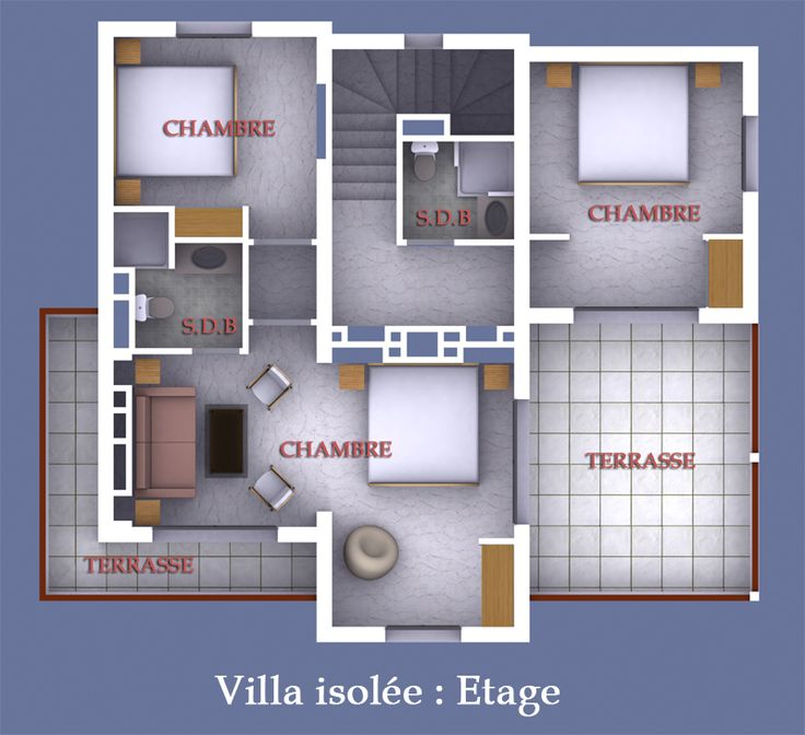 plan de chambre avec salle de bain