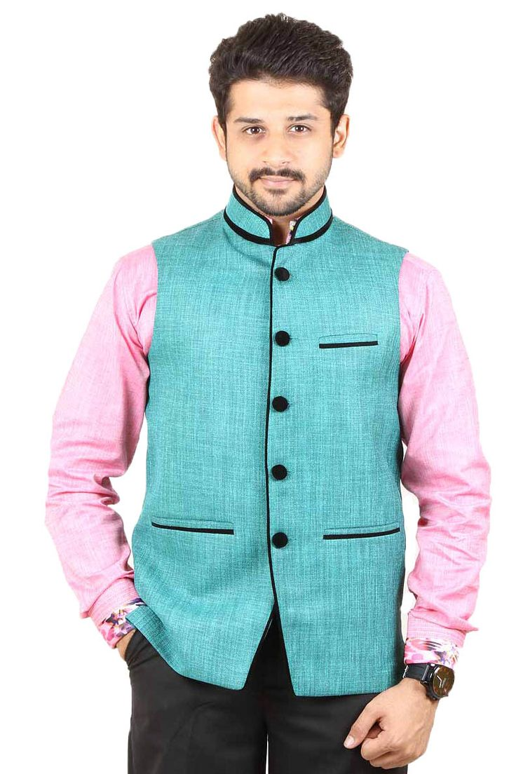 Buy Green Color Rai Sahab Modi Jacket and Nehru Jacket For