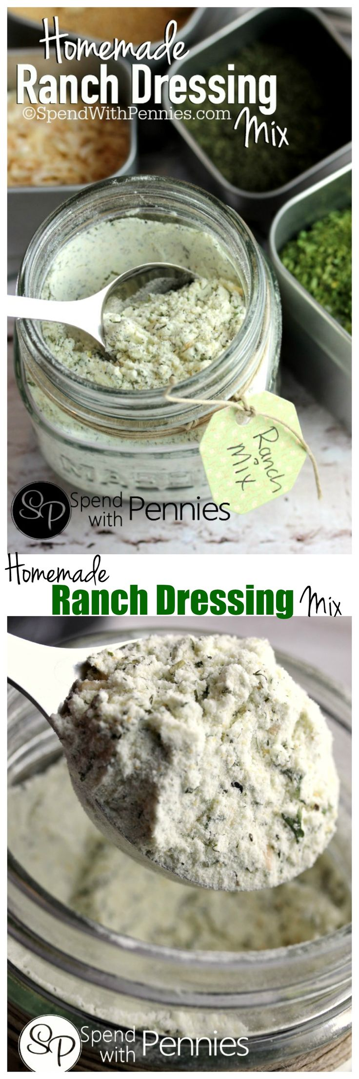 A delicious Homemade Ranch Dressing Mix.  Simple to make, contains no MSG and is perfect in dressings and dips or to replace mix