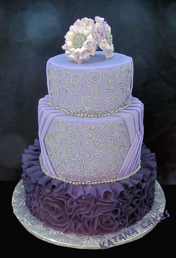 Purple Fondant Ruffles And Silver Piping Wedding Cake