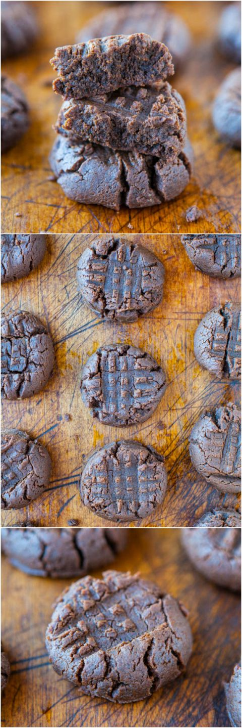 Thick and Soft Chocolate Peanut Butter Cookies (GF) – NO butter & NO flour used in these thick cookies that taste like peanut