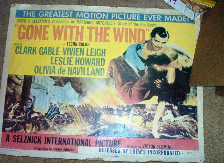 1954 Gone With The Wind Movie Poster Gone with the Wind