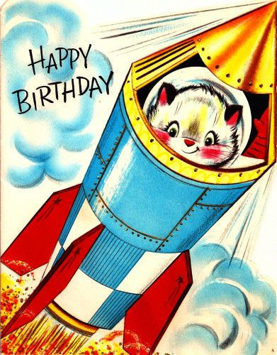 Vintage Birthday Card Space Cat Astronaut Rocketship Astronauts Happy And Search