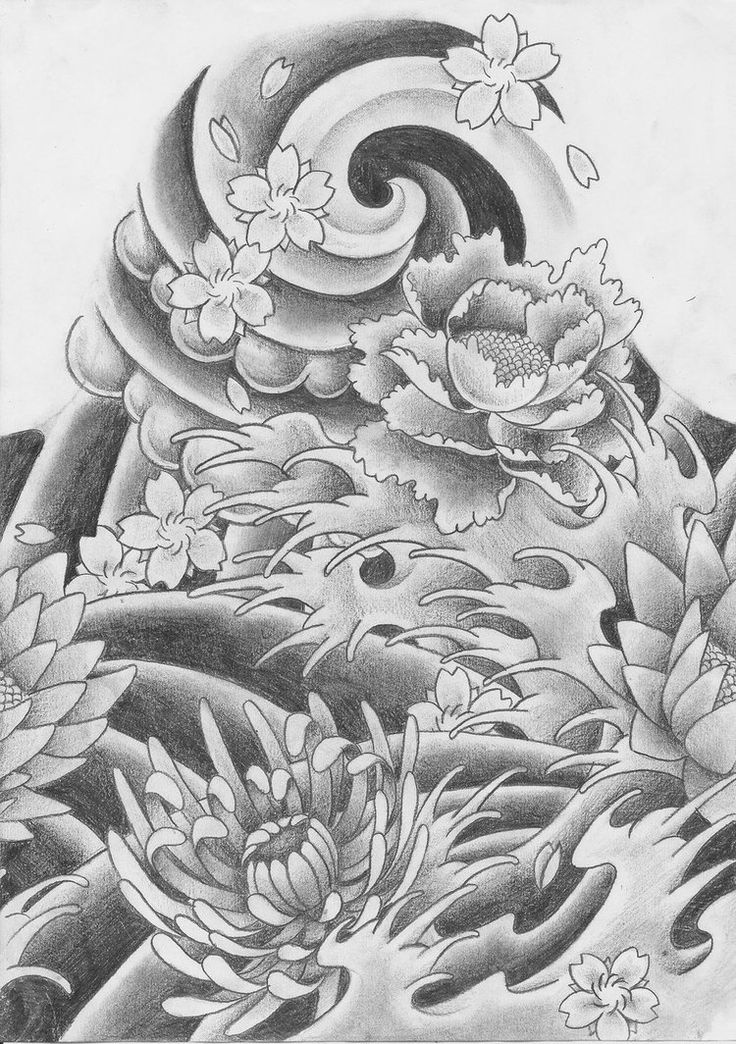 japanese wave drawing Traditional japanese tattoo. by