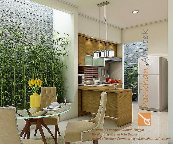 interior ruang makan dan dapur minimalis. lokasi di kota