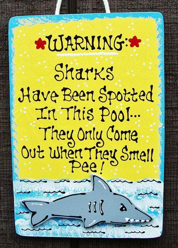 Shark Don T Pee In Pool Sign Deck Tropical Tiki Swimming