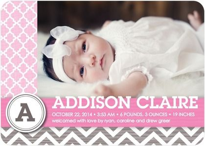 Winsome Welcome Girl Girl Photo Birth Announcements In