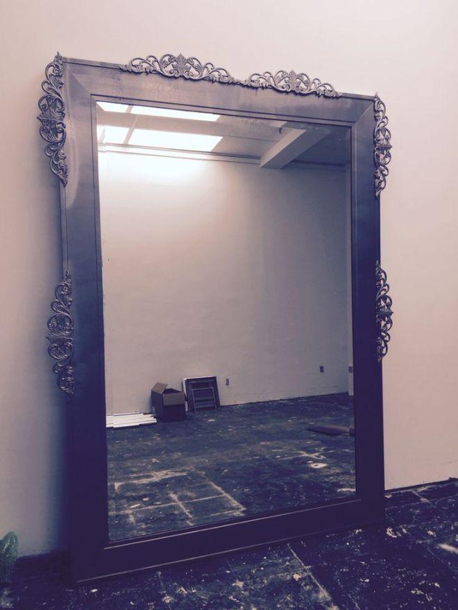 Diy antique frame mirror hammered tin rustoleum and wood