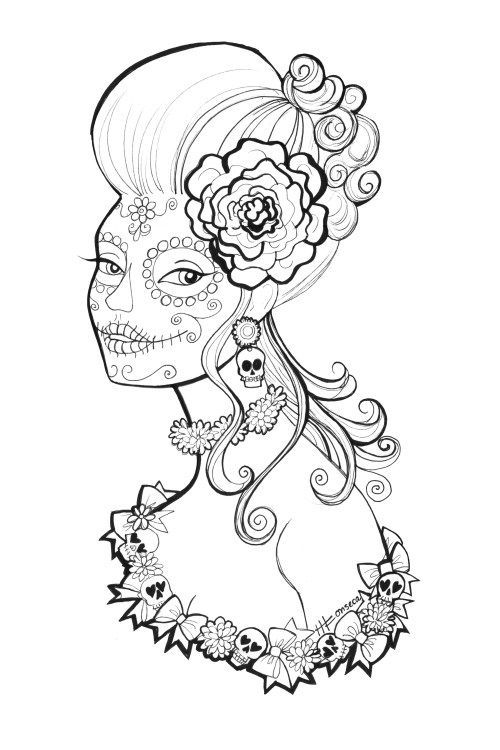 Free Printable Day Of The Dead Coloring Pages By Heather