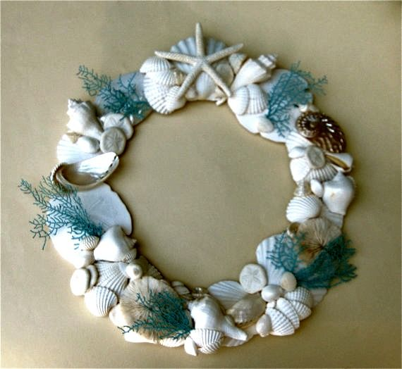 Seashell Wreath With Hand Painted Natural Sea Fans The