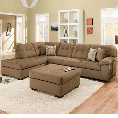 Simmons Malibu Mocha 2 Piece Sectional With Four Pillows