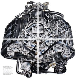 Acura NSX engine cutaway illustration | Suck Squeeze Bang