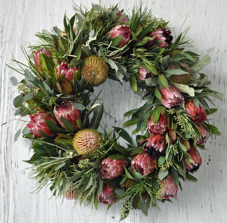 A wreath made from beautiful native Australian flowers