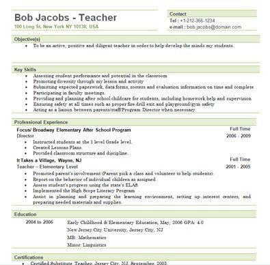 sample new teacher resume resume sample