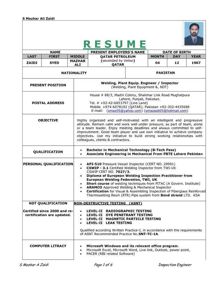 sample resume for welding position Re Work Procedure