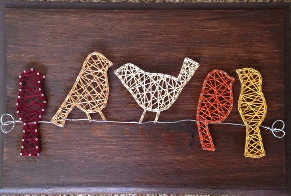 Birds on a wire string art sign van my2heARTstrings op Etsy