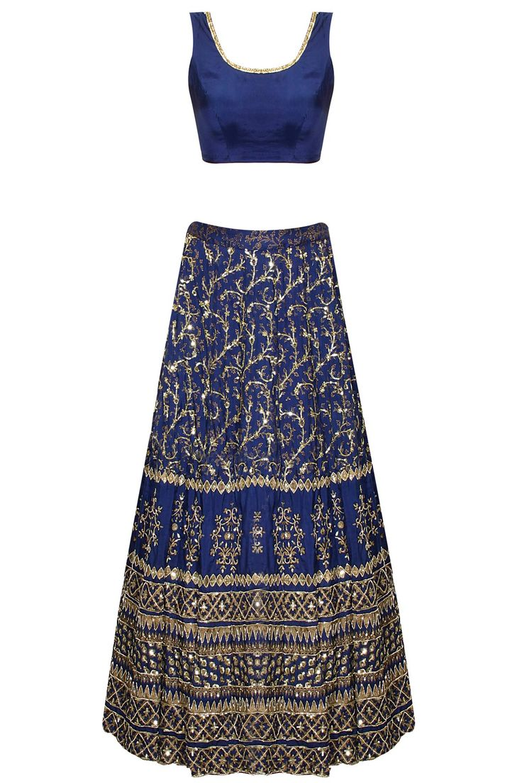 Dark blue sequins embroidered lehenga