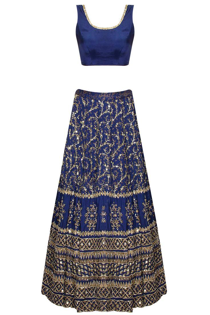 Dark blue sequins embroidered lehenga