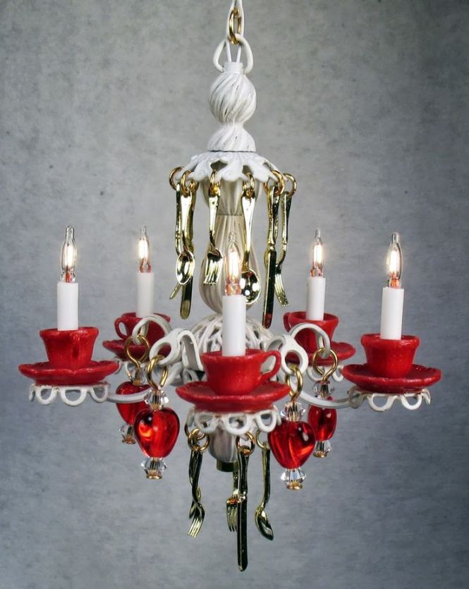 Teacup Chandelier In Antique White With Red Teacups And Saucers Glass Hearts Hanging
