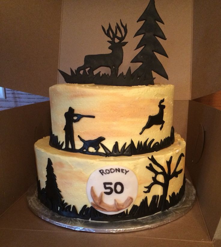 Hunting Themed Cake Deer Hunter Silhouettes Made Of