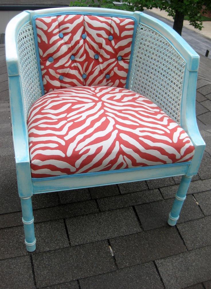 Vintage Aqua Barrel Cane Side Chair With Red White Zebra