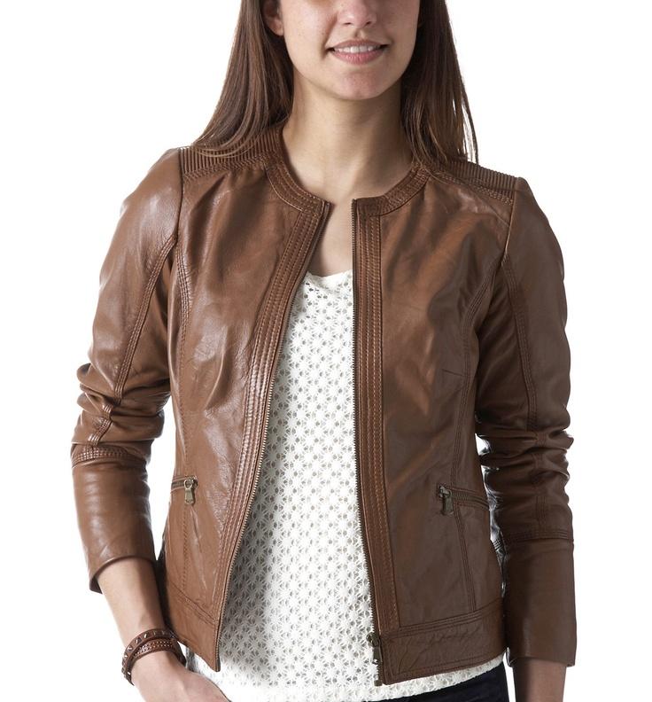 Leather jacket Light chestnut brown Women Jackets