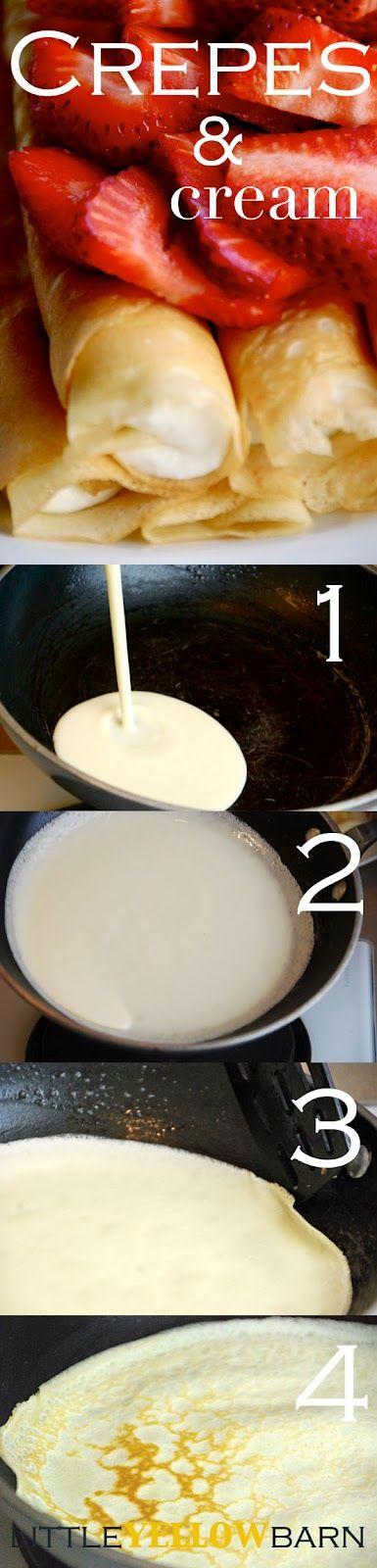 Crepes – 4 eggs, 1/2 c butter, melted, 1/3 c sugar, 1 c flour, 1 c milk, 1/4 c water, 1 tsp. vanilla, dash