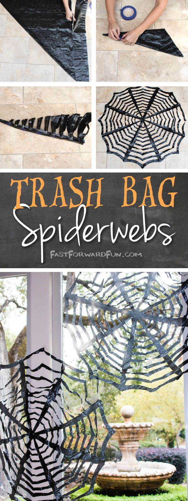 Easy DIY Trashbag Spiderweb Tutorial — Fun video and lots of step-by-step photos! Perfect for Hallowe