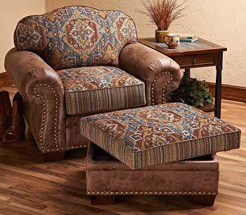Southwest Cherokee Upholstered Chair Amp Ottoman Wild