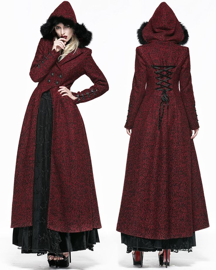 Queen Of Hearts Long Coat Jacket Womens Red Hooded Vintage
