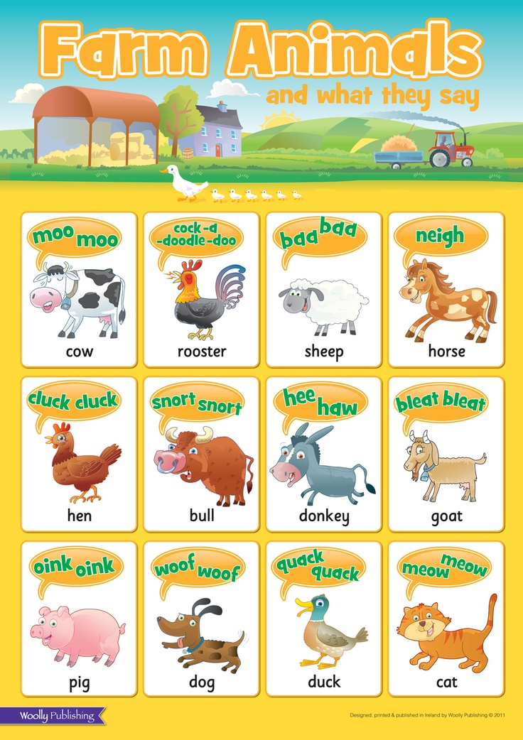 Farm Animals and what they say Wall Chart. Ideal for
