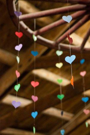 heart garland from Jamie & Jon's three-day summer camp wedding | Offbeat Bride