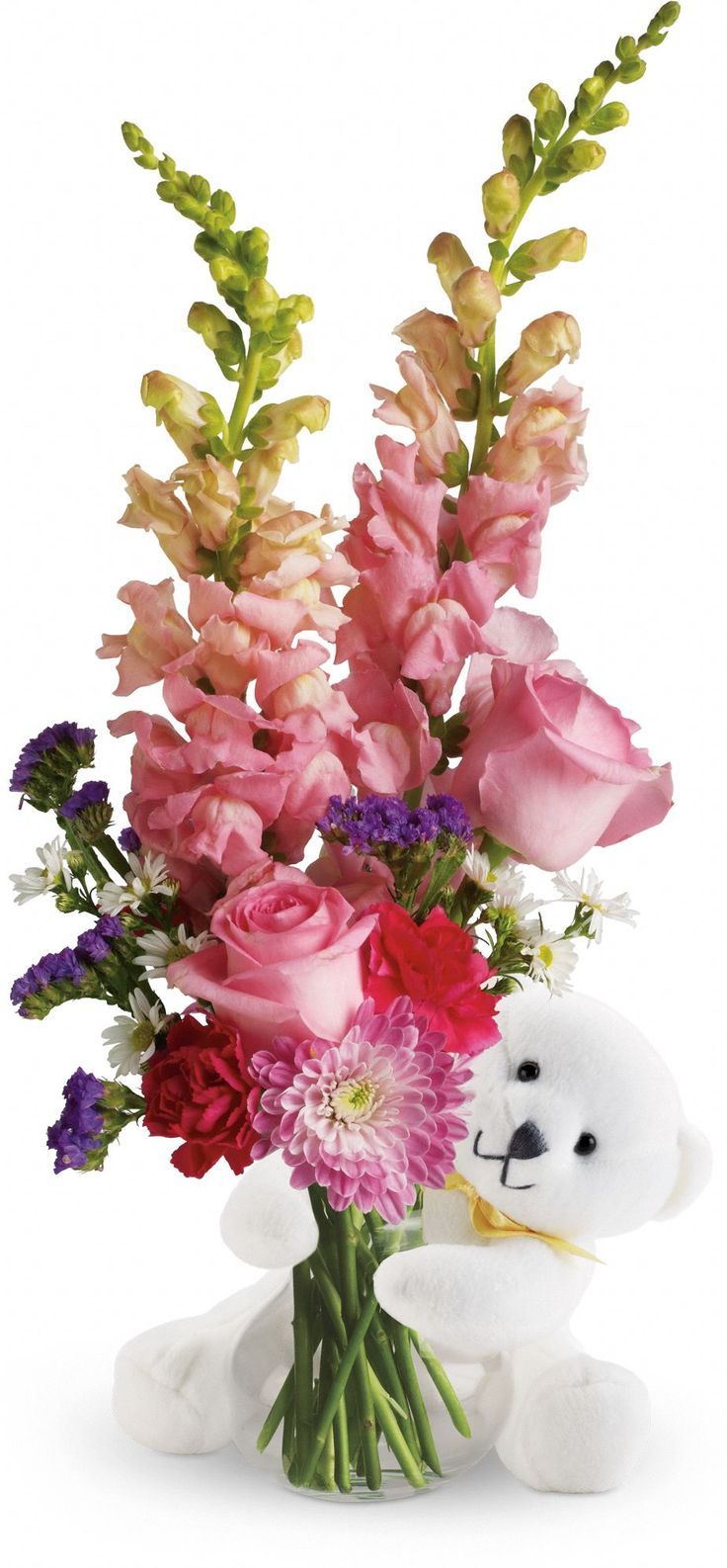 Teleflora's Bear Hug Bear with Pink Roses Pretty in Pink