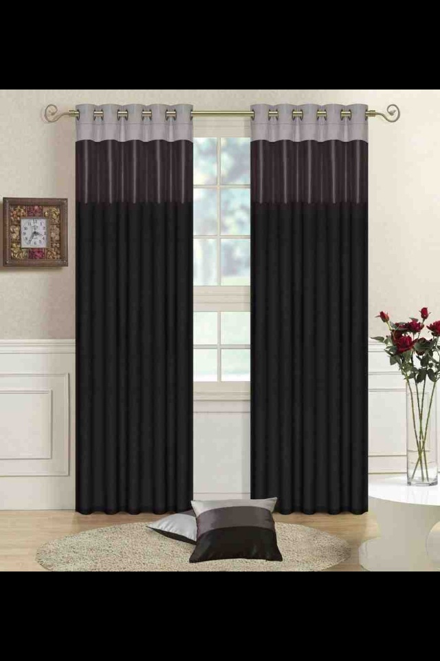 Living Room Curtains Idea Black Grey Silver For The Home Pinterest Silver Color Black And