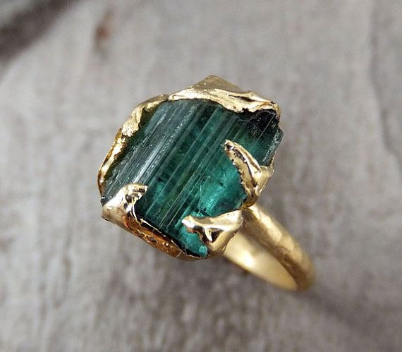 RESERVED Raw Blue Green Tourmaline Gold Ring Rough Uncut