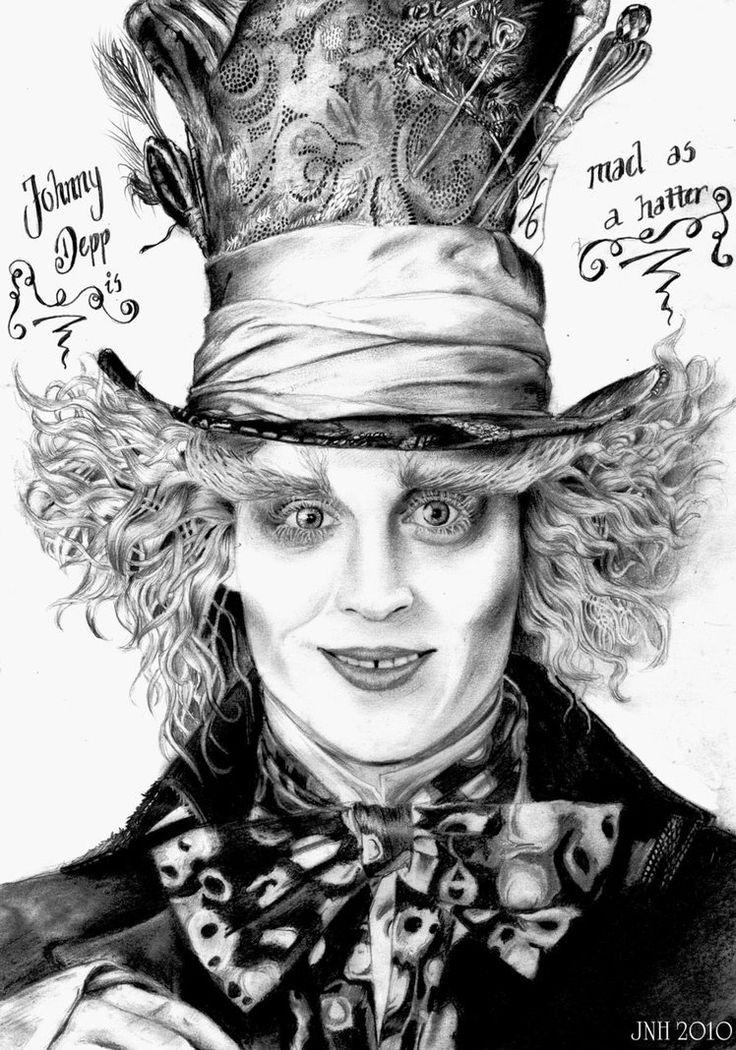 Alice in Wonderland Mad Hatter Hat Drawing Johnny Depp