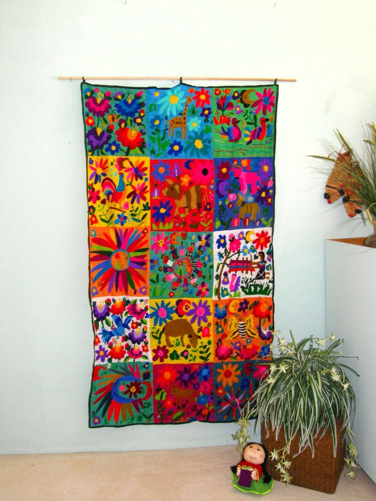 Hand Embroidered Mexican Wall Hanging Mexican Folk Art