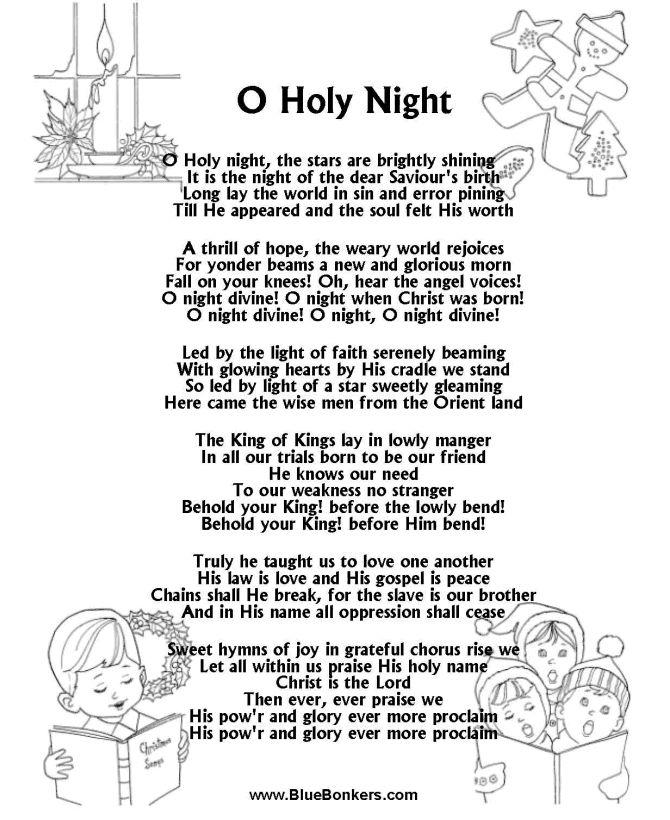 Printable Christmas Carol Lyrics sheet O Holy Night