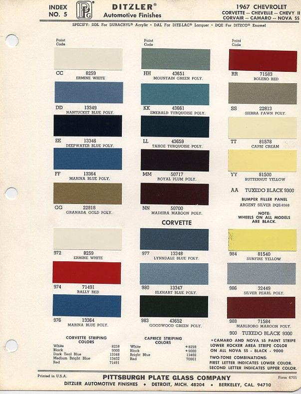 1964 Dupont Car Paint Colors Color Charts
