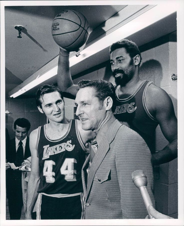 Jerry West, Wilt Chamberlain, & Coach Bill Sharman The
