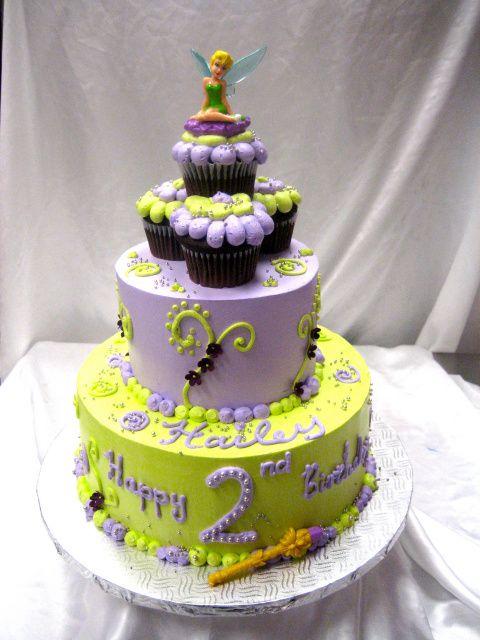 Tinkerbell Ice Cream Cake Tinkerbell 2 Tier W Cupcakes
