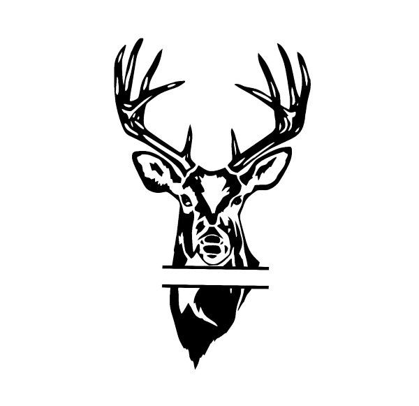 Download split monogram deer head, buck head design, svg files for ...