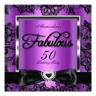 Fabulous 50 Party Purple Damask Black Lace 13 Cm X 13 Cm