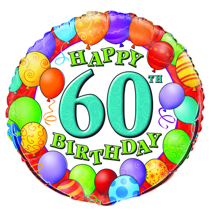 "Happy 60th Birthday"" Mylar Balloon Partys R Us"