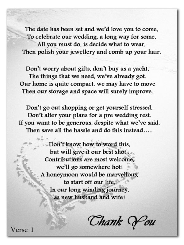 Details About Wedding Money Gift Voucher Poem Cards For