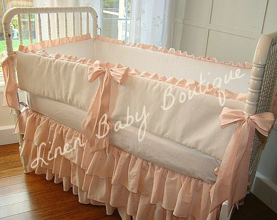 Peach Crib Bedding Baby Bedding 3 Tiered Crib Skirt Set
