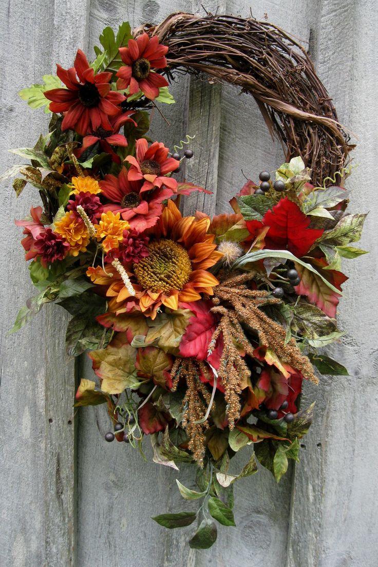 Autumn Wreath, Fall Floral, Designer Wreaths, Sunflowers